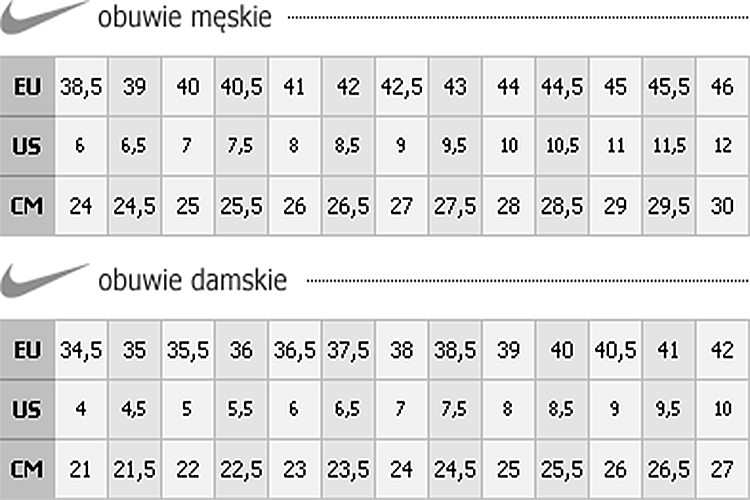 Tabela Rozmiarów Nike Dorośli