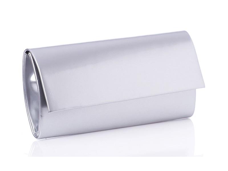 T103 elegancka lakierowana torebka kopertówka z prostą klapą - Srebrna