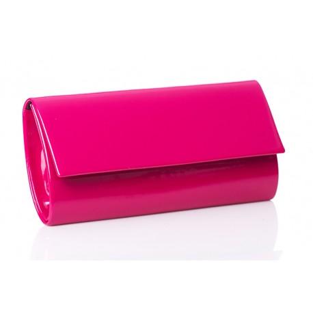 T103 elegancka lakierowana torebka kopertówka z prostą klapą - Fuksja