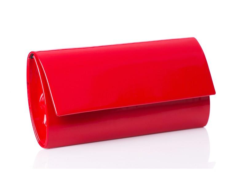 T103 elegancka lakierowana torebka kopertówka z prostą klapą - Czerwona